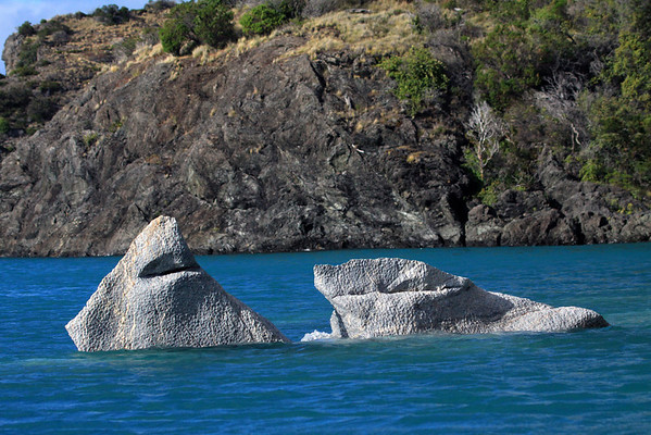 Concave or scalloped texture, upon the water sculpted metamorphic marble outcrops, upon the glacial milk water - to the rocky and vegetated western shoreline, of Lago Carrera.