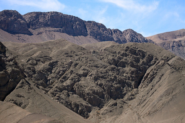 Volcanic rock along along the northern slopes and jagged ridges overlooking the Quebrada Paipote - here along route 31 towards Nevada Tres Cruces National Park - Copiapó province - Atacama region - northern Chile.