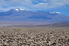 Across the largest salt flat/plain in Chile, the Salar Atacama - to Volcán Pular (l), a stratovolcano, and 2nd highest mountain in the Antofagasta region of northern Chile, peaking at around 20,449 ft. (6,233 m) - with Cerro Pajonales (r), rising up to about 19,547 ft. (5,948 m) - Loa province - eastern Antofagasta region.