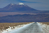 Atop the Salar Atacama, the southeastern area along ruta 385 - with above to Volcán Miñiques, peaking at around 19,390 ft (5,910 m) - Loa province - eastern Antofagasta region.