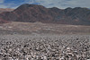 Upon the Salar de Atacama - an endorheic basin and salt flat/plain, the largest in Chile, measuring about 60 mi. (100 km) long and near 50 mi. (80 km) wide - here viewing up to the Cordillera Domeyko (range) - Loa province - eastern Antofagasta region.
