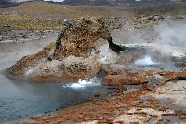 Tatio Geyser Field - here an erupting geothermal hot spring at about 14,000 ft (4,267 m) - Loa province - northeastern Antofagasta region.
