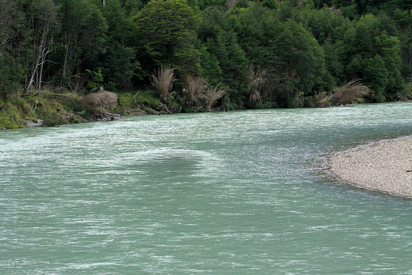 Along the meandering and glacial water of the Rio Murta - north from its mouth into Lago Carrera - Aisén region.