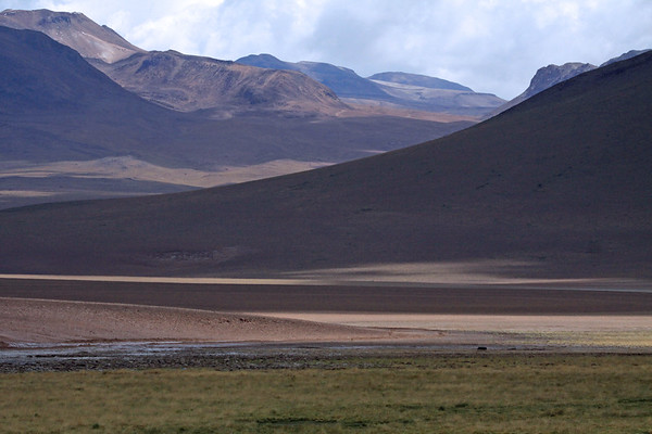 Across the Río Putana - to the cloud-shadowed lower northwestern flank and slope of Volcán Pabellón - beyond (l) to the the edge of Volcán Tatio - and (r), the edge of Cerro Torta - Loa province - northeastern Antofagasta region.