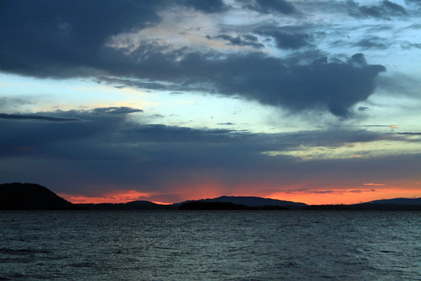 Sunset at Lago Calafquen - Araucania region.