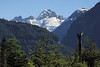 Snow capped glaciers amongst the jagged igneous rock ridge above, and below the predominate southern beech trees forest along the slopes of the Río Grande and Río Esperanaza Valleys - Coyhaique province - Aisén region.