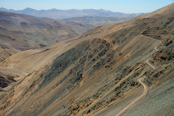 Volcanic rock slope amongst ruta C-177 - situated in the central Chañaral province - Atacama region - northern Chile.