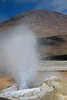 Erupting geyser amongst the sinter deposits and steam plume - Tatio Geyser Field - situated at around at about 14,000 ft (4,267 m), with geothermal discharge up to an altitude of around 15,100 ft (4,600 m) - Loa province - northeastern Antofagasta region - Central Volcanic Zone.