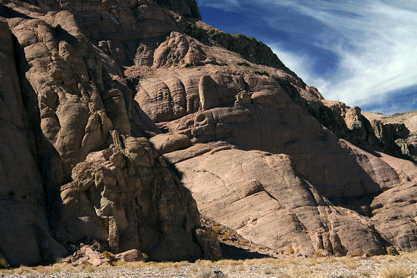 Late-afternoon sunlight and shadows along the slope of the Quebrada Paipote - northeastern Copiapó province - Atacama region.