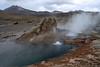 El Tatio Geyser Field - a geothermal field consisting of many geysers, hot springs, and sinter deposits - this field measures about 12 mi² (30 km²) in surface area - with geothermal discharge up to an altitude of around 15,100 ft (4,600 m) - Loa province - northeastern Antofagasta region.