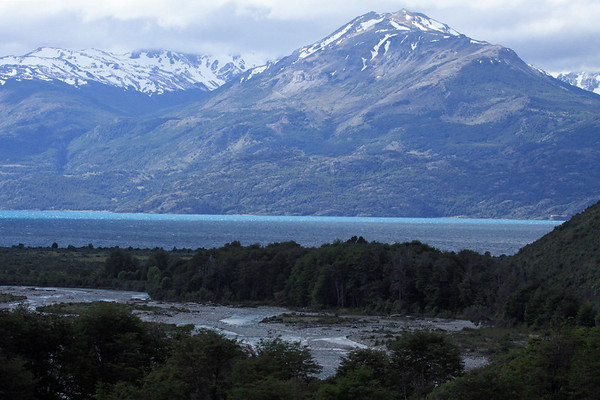Rio Maitenes - flowing near its mouth into Lago General Carrera - beyond to the Sierra Avallanos, viewing up the Rio Malas Valley - Aisén region.