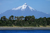 Volcan Corcovado, peaking at around 7,546 ft (2,300 m) - from here along the shoreline upon Playa Chiaguao - the southeastern area of Chiloé Island, the 2nd largest island of Chile (measuring about 115 mi./185 km long and averaging near 35 mi./56 km wide) - Chiloé province, southwestern Los Lagos region, southern Chile.