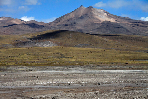 Tatio Geyser Field - braided geothermal hot spring streams, tussock grass slopes, cloud-shadows, and volcanism extreme - Loa province - northeastern Antofagasta region.