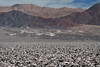 Salar de Atacama (salt flat) - formed by waters flowing down from the Cordillera Andes (eastward) and here above the Cordillera Domeyko (range) - unable to escape from the basin, the water is forced to evaporate, leaving salt deposits behind - Loa province - eastern Antofatasta region.