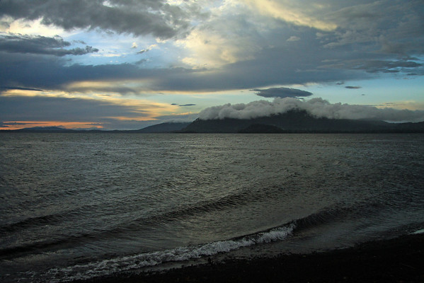From the waves breaking along the north-eastern shoreline of Lago Calafquen - to the cloud-bank and sunset - Araucania region.