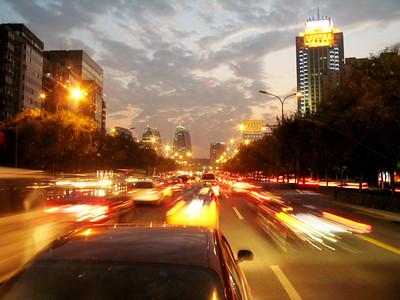 evening on the Beijing freeway