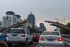 A rainbow welcomes  travelers heading westbound on Jianguomen Nei Dajie towards central Beijing (Dongcheng Qu, Beijing Shi, CN - 07/10/12, 6:28:07 PM)