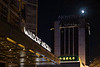 The moon rises over the Novotel Peace Hotel and the Waldorf Astoria in Beijing's Dongcheng district. (Dongcheng Qu, Beijing Shi, CN - 12/05/17, 9:15:45 PM)