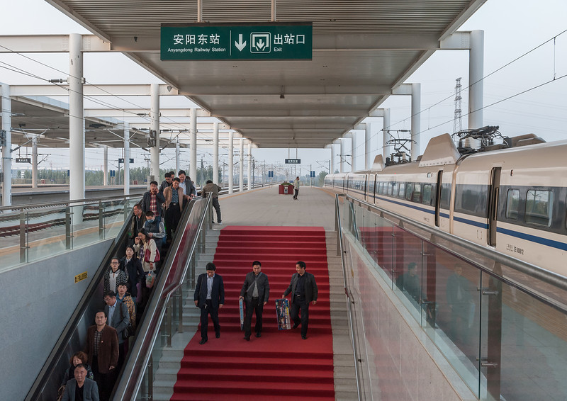 Passengers disembark from the new Anyang East Railway Station for high-speed trains. (Anyang, Henan, CN - 10/24/13, 5:12:47 PM)