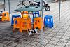 A dog frolics on an Anyang sidewalk. (Beiguan Qu, Anyang Shi, Henan Sheng, CN - 10/23/16, 3:44:32 PM)