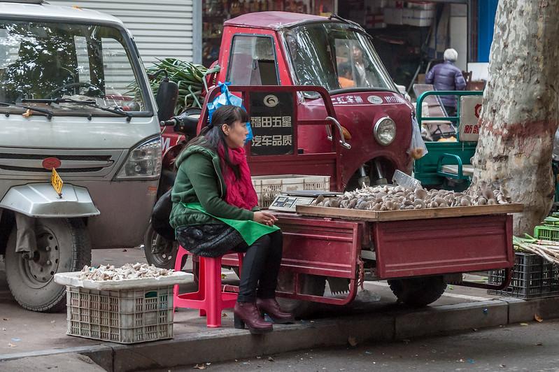 A purveyor of mushrooms awaits customers at a street market in Anyang. (Beiguan Qu, Anyang Shi, Henan Sheng, CN - 10/25/16, 3:53:00 PM)