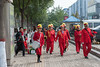 A marching band appears out of nowhere on an Anyang sidewalk. They will likely be performing at a wedding ceremony in a nearby hotel. (Beiguan Qu, Anyang Shi, Henan Sheng, CN - 10/24/16, 10:27:48 AM)