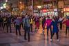 Beijing residents line-dance on a Wangfujing Street sidewalk. (Dongcheng Qu, Beijing, CN - 11/01/16, 8:25:24 PM)
