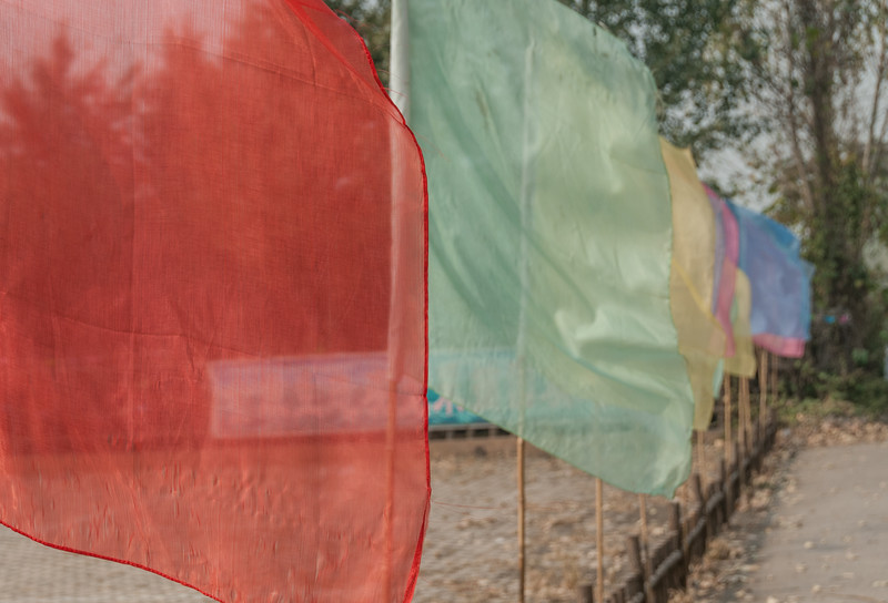 Flags in the soft morning sun (Xibeigang, Anyang, Henan, - 10/27/13, 10:49:54 AM)