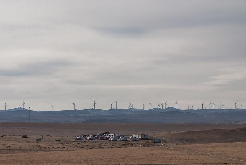 Wind farm and yurts (Darhan Muminggan, Baotou, Inner Mongolia, CN - 11/08/13, 2:33:02 PM)