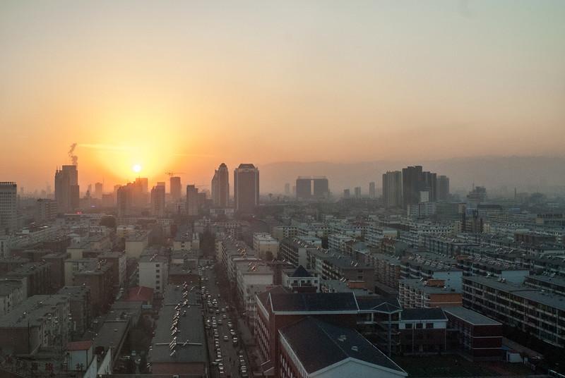 Sunset over Hohhot (Xincheng, Hohhot, Inner Mongolia, CN - 11/07/13, 5:15:23 PM)