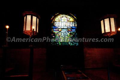 Wade Chapel and the Tiffany window.