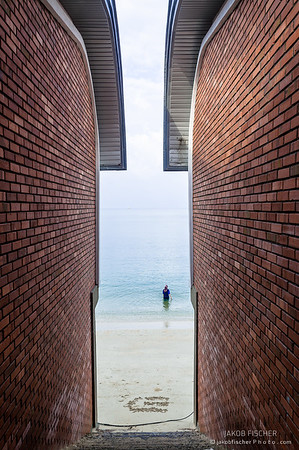 framing brick walls on the beachfront