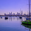 Boats in front of Skyline of Melbourne