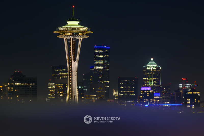 Seattle Skyline and Space Needle in the Fog