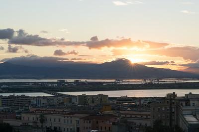 Cagliari Harbour at sunset