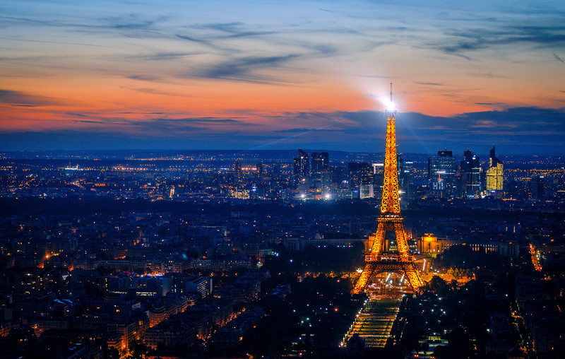 View over Paris at dusk.