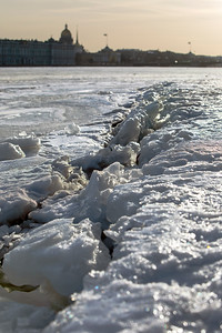 Frozen Neva River near St Peter and Paul Fortress