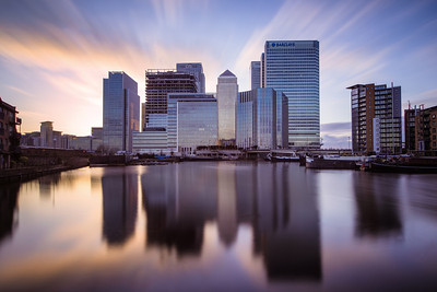 Financial Skies Long Exposure sunset over Canary Wharf as seen from Poplar Dock