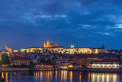 Vltava at twilight (from Karlův most) - Prague, Czech Republic - May 16, 2019