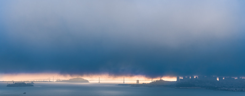 City in the fog, San Francisco, CA