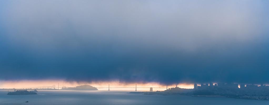 City in the fog, San Francisco, CA