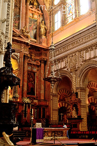 The Cathedral inside the Mosque at Cordoba..