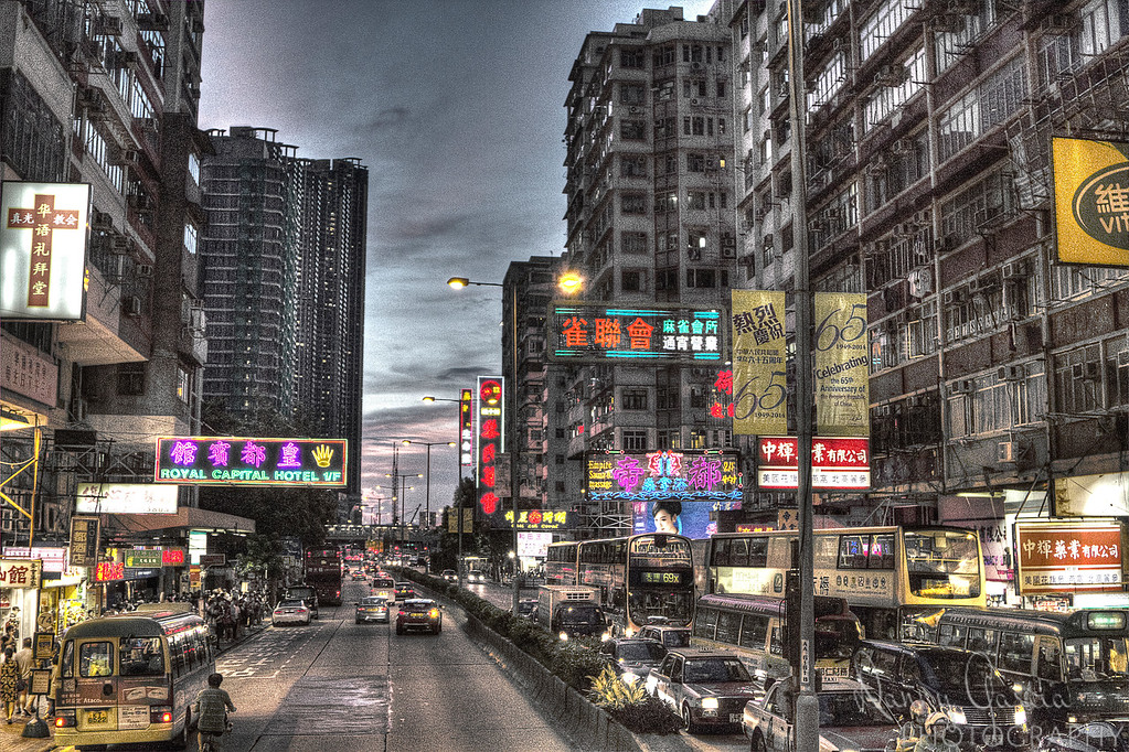 Sunset on a Hong Kong Street