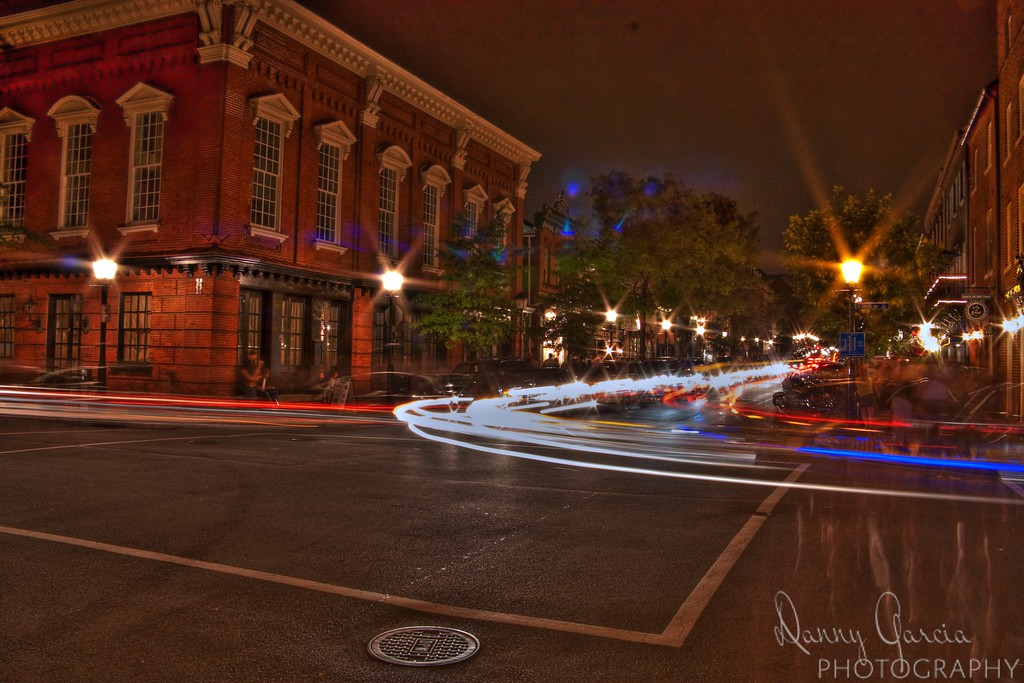 Downtown Alexandria, Virginia at night