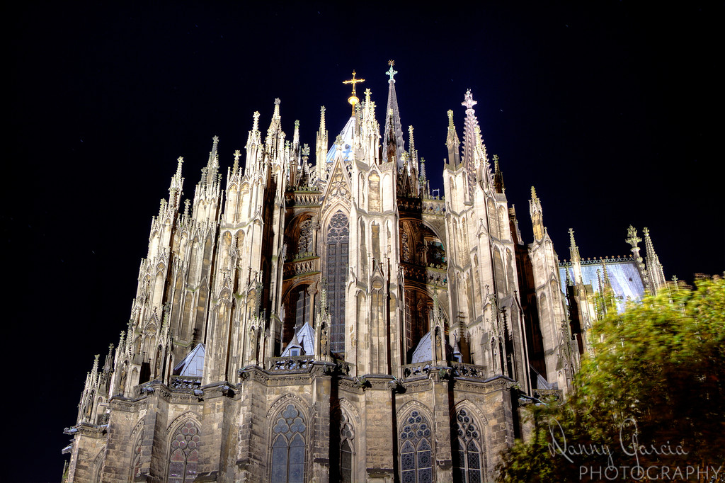 Kölner Dom, officially Hohe Domkirche St. Petrus, or the High Cathedral of St. Peter) is a Roman Catholic church found in Cologne, Germany.  This long exposure at night captures just a piece of the incredible architecture of a building which started construction in 1248.