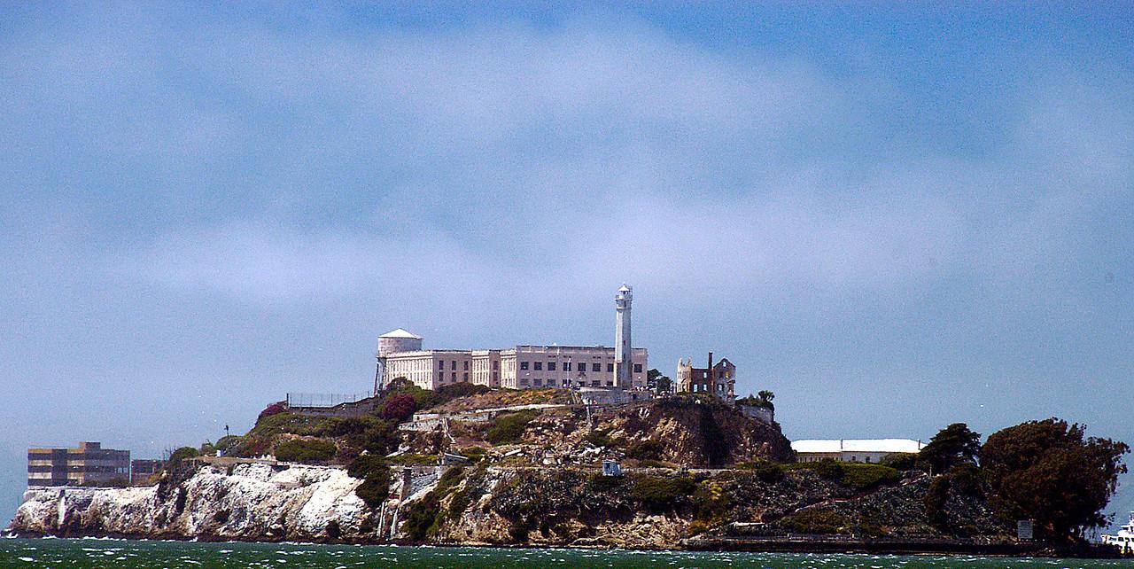 6-29-2005 -- Alcatraz Island arising out of the mist.