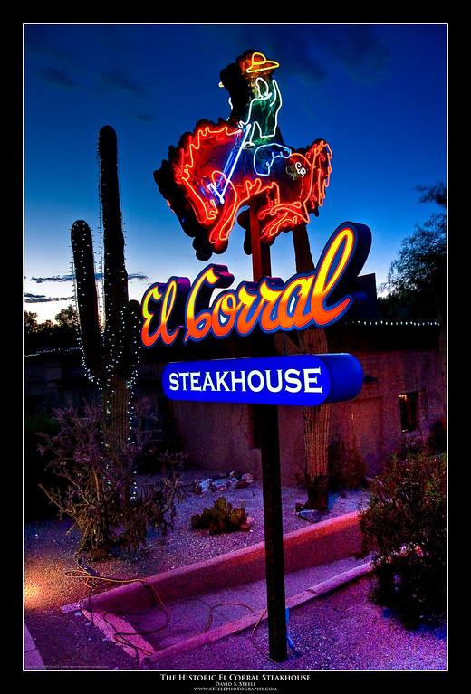 (9.10.2009 -- Tucson, AZ)  sign  for the historic El Corral Steakhouse.