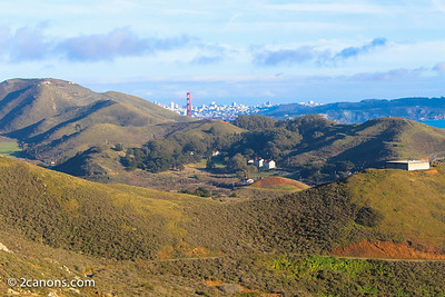 Golden Gate Bridge towers over Fort Cronkhite, Ca.