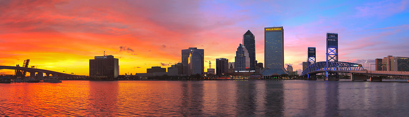 Jacksonville skyline at sunset