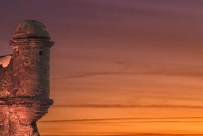 Castillo de San Marcos turret at sunrise-St. Augustine FL